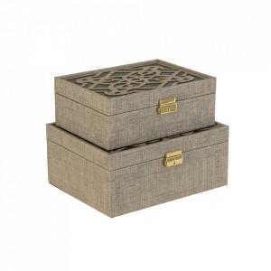 Set 2 cutii cu capac gri din MDF Salzburgo Vical Home