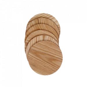 Set 6 coastere maro din lemn Luna Bolia