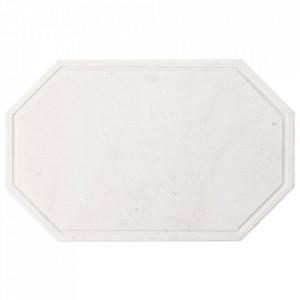 Tocator octagonal alb din marmura 25x40 cm Wonder Bolia