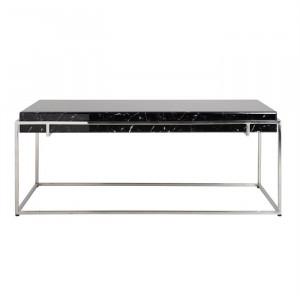 Masa neagra/argintie din sticla si inox pentru cafea 65x120 cm Dante Richmond Interiors