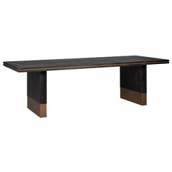 Masa dining neagra din lemn si inox 100x190 cm Hunter Richmond Interiors