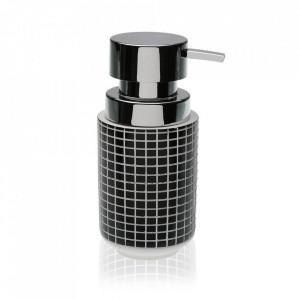 Dispenser sapun lichid negru/alb din rasina 8x16 cm Tatiana Versa Home