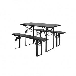Set masa si 2 banci din lemn 160 cm Nordal