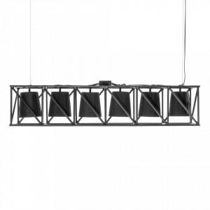 Lustra neagra din metal cu 6 becuri Multilamp Line Seletti