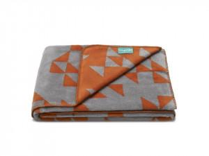 Pled gri/portocaliu din bumbac si fibre acrilice Triangles Mumla (diverse dimensiuni)