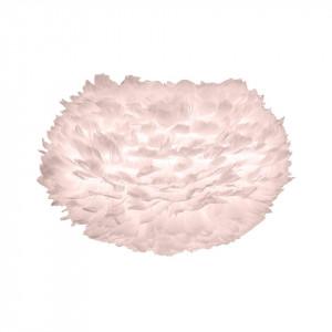 Abajur roz din pene si otel Eos Medium White Rose Umage