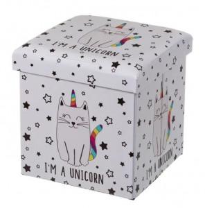 Taburet patrat alb pentru copii din MDF 38x38 cm Unicorn Unimasa