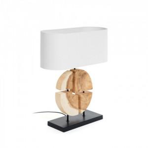 Veioza din lemn cu abajur din bumbac alb Orbital La Forma