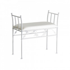 Bancheta alba din metal si bumbac pentru exterior 68 cm Garden Bench Unimasa