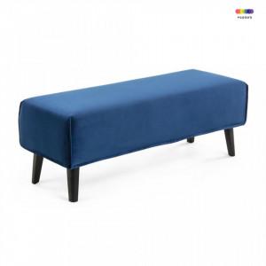Bancheta albastra din catifea si lemn 111 cm Lydia La Forma