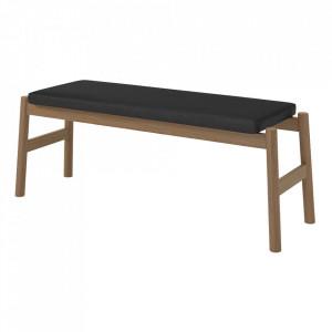 Bancheta neagra/maro din lana si lemn 114 cm Float Bolia