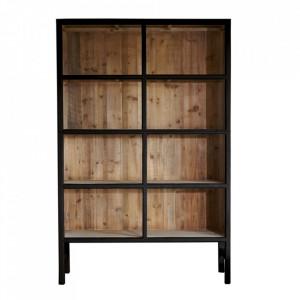 Biblioteca neagra/maro din lemn 230 cm Bellport LifeStyle Home Collection
