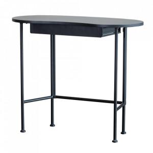 Birou negru din lemn de pin si metal 42x90 cm Belle Woood