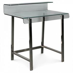 Birou transparent din sticla si metal 56x85 cm Cyber Chromed Desk Opjet Paris