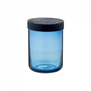 Borcan cu capac albastru din sticla si silicon 10x15 cm Fjord Bolia