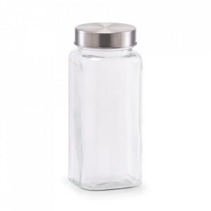 Borcan cu capac transparent/argintiu din sticla si inox 620 ml Sho Zeller