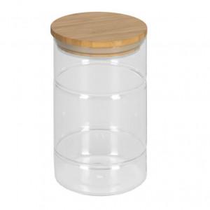 Borcan transparent din sticla si lemn de bambus 1 L Catia Kave Home
