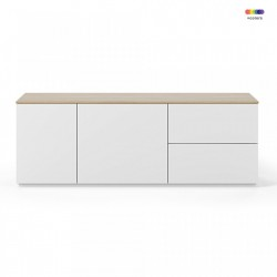 Bufet inferior alb/maro din MDF si PAL 160 cm Join TemaHome