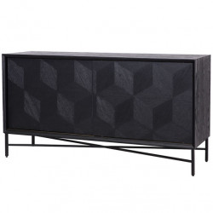 Bufet inferior negru din lemn si fier 160 cm Blax Richmond Interiors