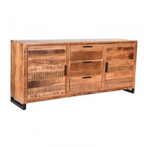 Bufet inferior negru/maro din metal si lemn 190 cm Glasgow LABEL51