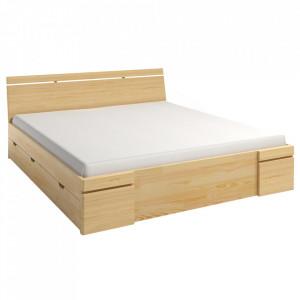 Cadru pat maro din lemn de pin 200x200 cm Sparta Maxi Drawer Skandica