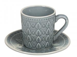 Cana cu farfurioara din portelan pentru ceai Azul Natural Santiago Pons