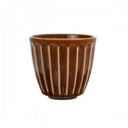 Cana rotunda din ceramica 225 ml Kyoto Striped Brown HK Living