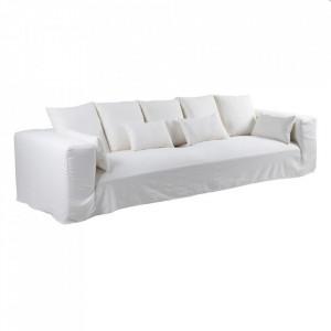Canapea alba din in si lemn 330 cm Lostock Denzzo