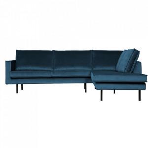 Canapea albastra din catifea cu colt 266 cm Rodeo Right Be Pure Home