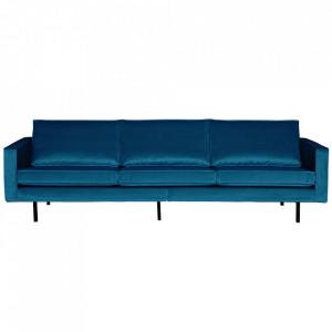 Canapea albastra din catifea pentru 3 persoane Rodeo Be Pure Home