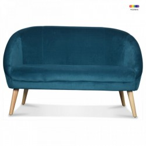Canapea albastra/maro din catifea si lemn pentru 2 persoane Gabriel Sax Two Opjet Paris