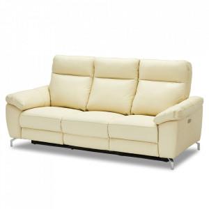 Canapea crem din piele si metal pentru 3 persoane Selesta Furnhouse