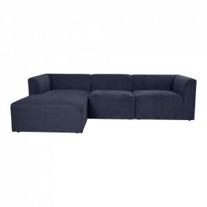Canapea cu colt albastra din poliester si lemn 272 cm Alba Left House Nordic