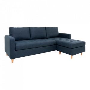 Canapea cu colt albastra din poliester si lemn de fag 219 cm Firenze Right House Nordic