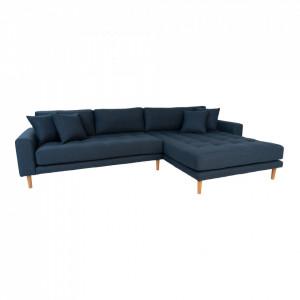 Canapea cu colt albastru inchis din poliester 290 cm Lido Right House Nordic