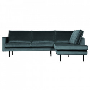 Canapea cu colt albastru teal din catifea 266 cm Rodeo Right Be Pure Home