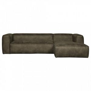Canapea cu colt din piele verde army 305 cm Bean Right Woood