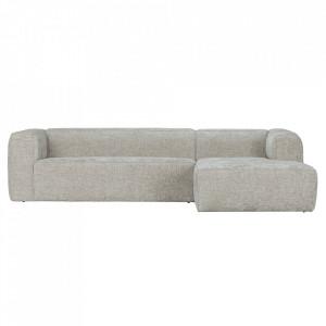 Canapea cu colt gri deschis din poliester si lemn 305 cm Bean Melange Right Woood