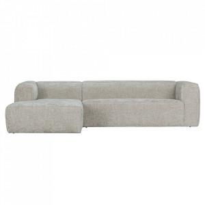 Canapea cu colt gri deschis din poliester si lemn 305 cm Bean Melange Left Woood