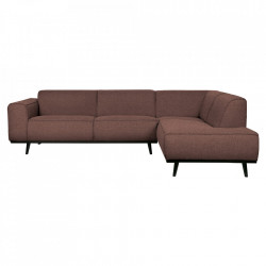Canapea cu colt maro cafeniu/neagra din poliester si lemn 274 cm Statement Right Boucle Be Pure Home
