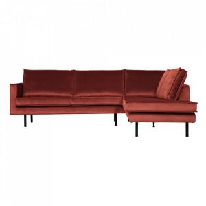 Canapea cu colt maro castana din catifea 266 cm Rodeo Right Be Pure Home