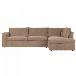Canapea cu colt maro din poliester 283 cm Freddie Right Woood