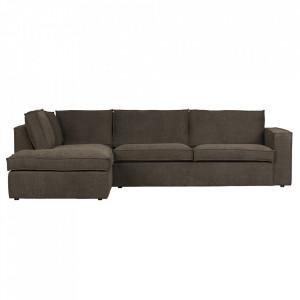 Canapea cu colt maro inchis din poliester 283 cm Freddie Left Woood