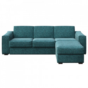 Canapea extensibila cu colt albastra din poliester si lemn pentru 4 persoane Munro Mesonica