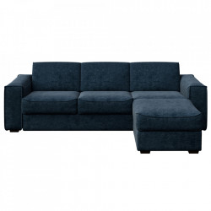 Canapea extensibila cu colt turcoaz inchis din poliester si lemn pentru 4 persoane Munro Big Mesonica