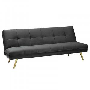 Canapea extensibila gri/aurie din catifea si metal 181 cm Moritz Signal Meble