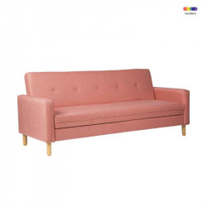 Canapea extensibila roz din lemn de pin si poliester pentru 2 persoane Delhi Pink Somcasa
