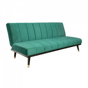 Canapea extensibila verde smarald din catifea si lemn 180 cm Petit Beaute Invicta Interior