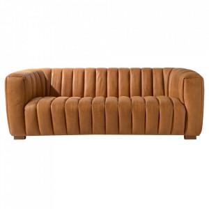 Canapea maro coniac din piele pentru 3,5 persoane Pulitzer Riviera Maison