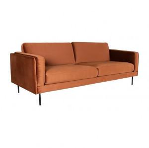 Canapea maro cupru din catifea si metal pentru 3 persoane Verona LABEL51